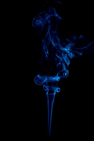 blue rings and curls of smoke on black background Stock Photo - 17967645
