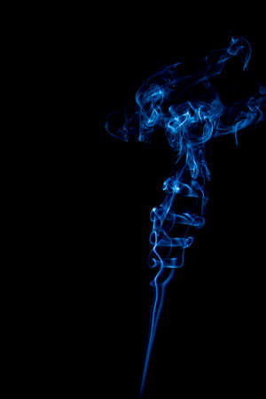 blue rings and curls of smoke on black background Stock Photo - 17967671