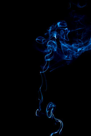 blue rings and curls of smoke on black background Stock Photo - 17967675
