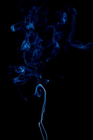 blue rings and curls of smoke on black background Stock Photo - 17967664
