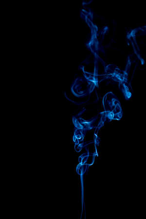 blue rings and curls of smoke on black background Stock Photo - 17967644
