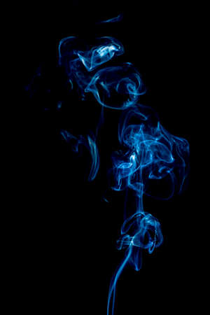 blue rings and curls of smoke on black background Stock Photo - 17967643