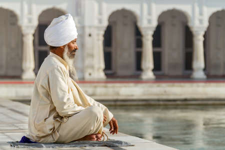 obliteration: Sikh in a obliteration prayer In the lotus position