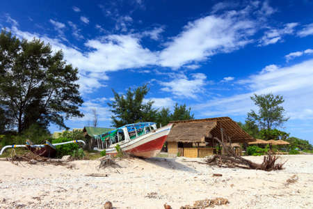 Abandoned local fishing boat  Gili Meno, Lombok, Indonesia photo