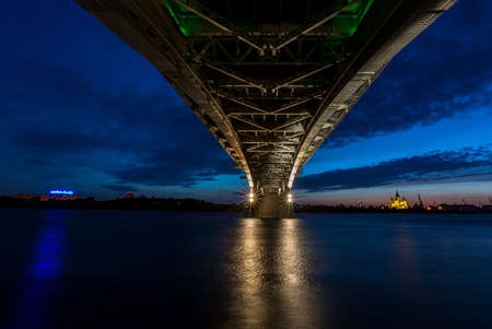 oka: Bridge at a quiet night in Nizhny Novgorod