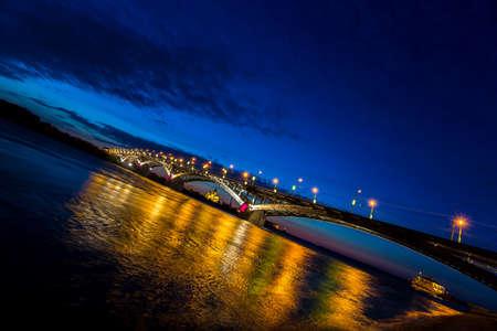 nizhny novgorod: Bridge at a quiet night in Nizhny Novgorod