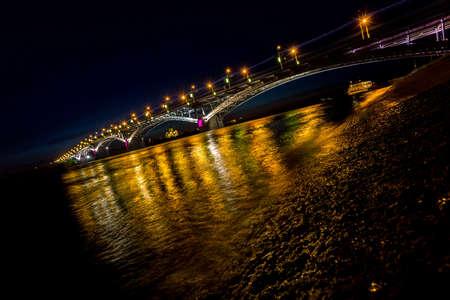 Bridge at a quiet night in Nizhny Novgorod photo