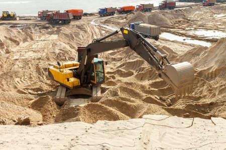 Yellow Excavator work at Construction Site Stock Photo - 21818378