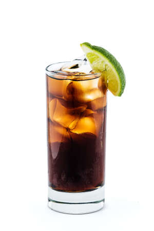 Cuba libre cocktail isolation with clipping path