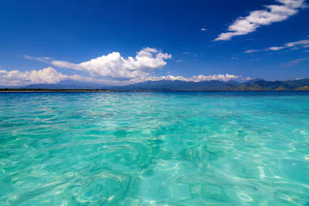 tropical sea and sky with clouds, Gili Meno, Lombok, Indonesia Stock Photo