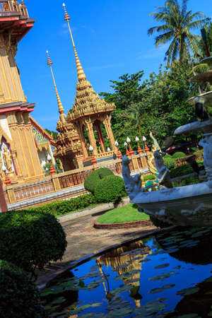 Wat Chalong is the most important temple of Phuket, tilt horizon photo
