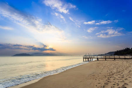 Nha Trang City Beach, Vietnam. Early Morning Stock Photo
