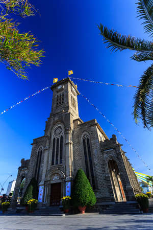 vertical orientation: King Cathedral (Sstone Church) in the evening. Nha Trang, Vietnam. Vertical orientation