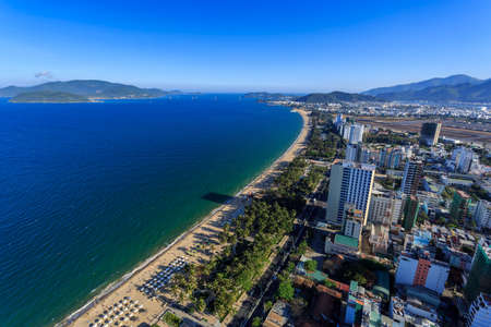 extreme angle: Aerial view over Nha Trang city, Vietnam taken from rooftop, extreme wide angle Stock Photo