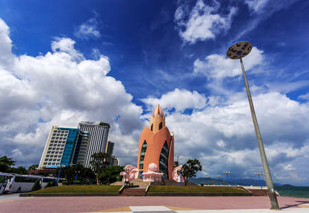 extreme angle: Tower Lotus in Nha Trang Vietnam on a clear sunny day