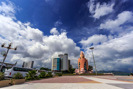 extreme angle: The Main Town Square On The Seafront In Nha Trang Vietnam