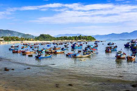 trang: Local Boats At Morning in Nha Trang central Vietnam Stock Photo