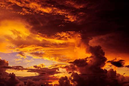 unreal: Magic Unreal Colorful Sky at Sunrise. Stock Photo