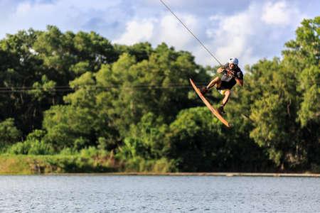 wakeboarding: Man Wakeboarding. Jumping. Phuket, Thailand
