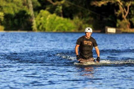 wakeboarding: Portrait Of Man Wakeboarding. Phuket, Thailand