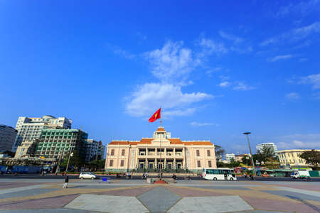 extreme angle: The Main Town Square with Khanh Hoa Center of Political and Cultural Events Nha Trang Vietnam