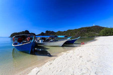 langkawi: Local Traditional boats attTanjung Rhu Beach in Langkawi, Malaysia