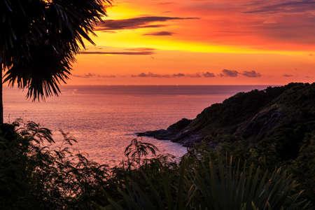 Dramatic Sunset in Phuket, Thailand, Promthep Stock Photo