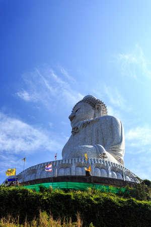 Side View of Phra Puttamingmongkol Akenakkiri Buddha Statue in Chalong, Phuket, Thailand Stock Photo