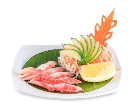 original plate: Sashimi with octopus. Isolated on white background with clipping path Stock Photo