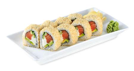 Sushi Uramaki Philadelphia  plate - isolated on white background