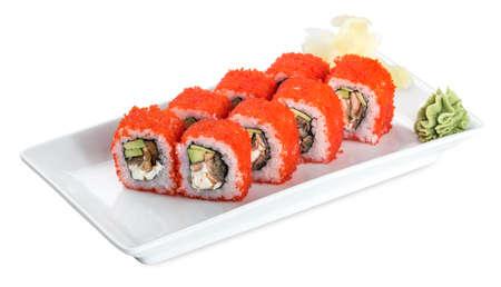 Sushi Ovaro Roll  plate - isolated on white background