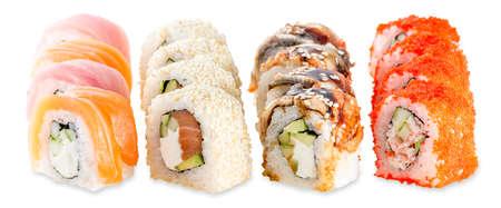 Fusion set sushi plate - isolated on white background, Studio shot Stock Photo