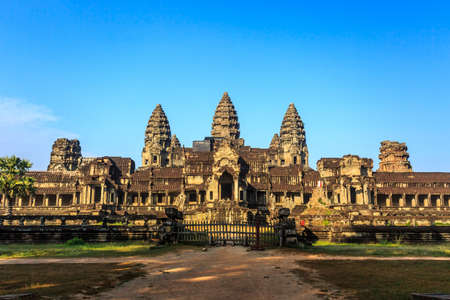 Ancient buddhist khmer temple Angkor Wat at morning, Siem reap, Cambodia.