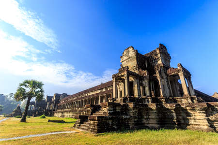 Ancient buddhist khmer temple Angkor Wat at morning, Siem reap, Cambodia.