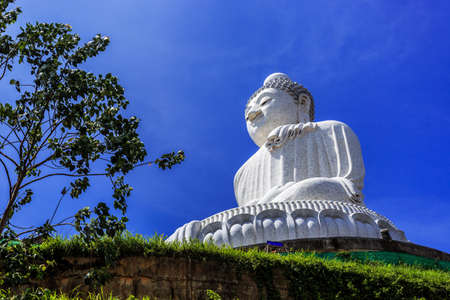 Side View of Big Buddha at sunny morning (Phra Puttamingmongkol Akenakkiri Buddha Statue) in Chalong, Phuket, Thailand