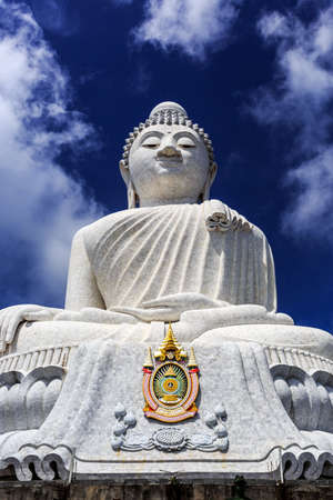 Front View of Big Buddha at sunny morning (Phra Puttamingmongkol Akenakkiri Buddha Statue) in Chalong, Phuket, Thailand