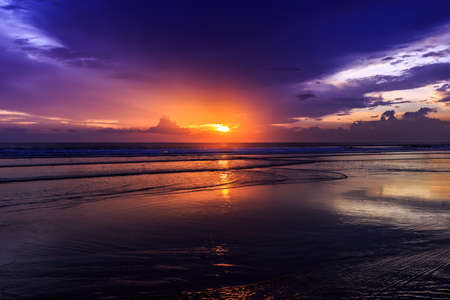 Magic Dramatic Unreal  Sunset in Kuta beach, Bali, Indonesia