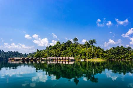 Floating Bungalows with kayaks at Khao Sok National Park, Cheow Lan Lake, Surat Thani, Thailand