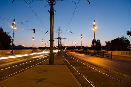 obuda: Night cityscape in Budapest, traffic, light, long exposure