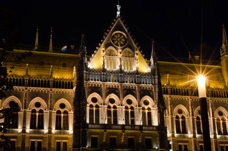 legislative: The Hungarian Parliament Building with bright and beautiful illumination at night. It is the seat of the National Assembly of Hungary, one of Europes oldest legislative buildings