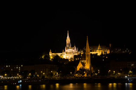 breaks: Matthias church and the Fishermans Bastion at night in Budapest Hungary Editorial
