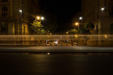 obuda: Night cityscape in Budapest Stock Photo
