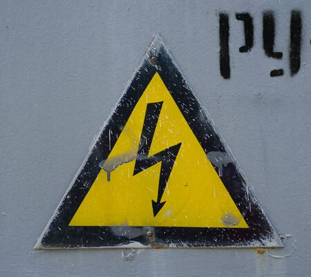 cat call: Sign caution blackboard danger high voltage