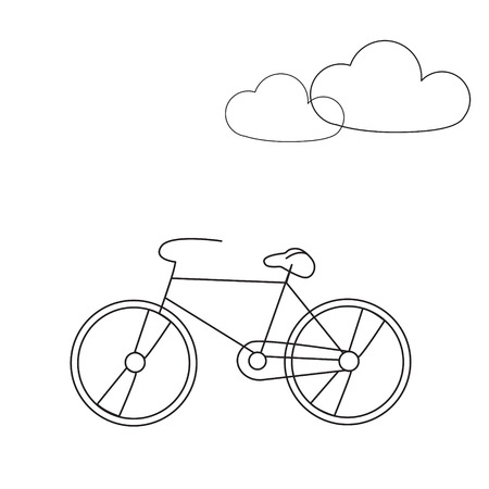 Bike line icon. Travel bicycle concept illustration with clouds. Modern line icon design. Modern icons for mobile interface. Vector illustration. Ilustracja