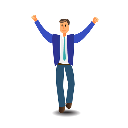 Cartoon character Business Man Excited Hold Hands Up Raised Arms, Businessman Full Length Concept Winner Success Vector Illustration