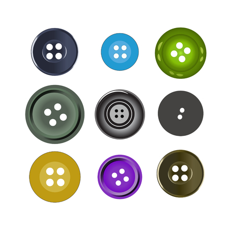 green button: Vector illustration. Bright colors buttons on white background. Set of sewing buttons - colored sewing button collection