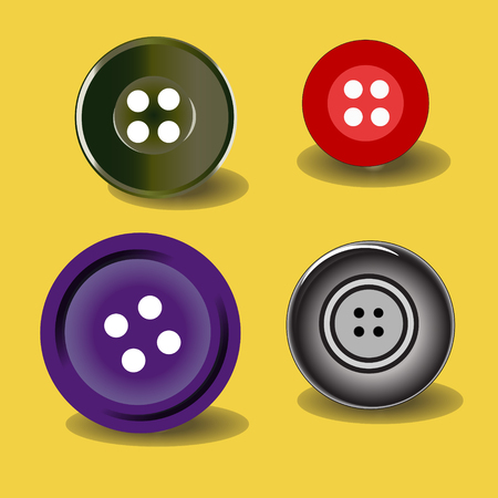 Vector illustration. Bright colors buttons on white background. Set of sewing buttons - colored sewing button collection