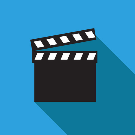 Movie clapper. Clapper board icon. Film frame, vector illustration. Flat style icon with long shadow. Ilustracja