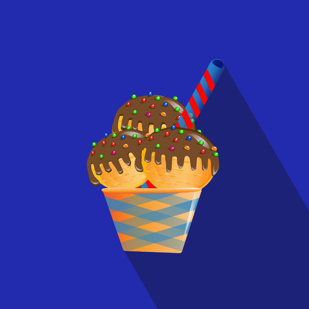 Bright tasty ice cream cupcake. Flat icon with long shadow, eps10. Vector illustration