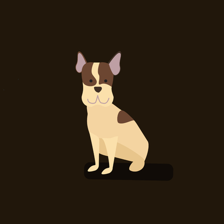 Cute Dog character. Cartoon styled vector illustration on dark background. Ilustracja